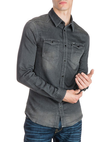 Guess Slim-Fit Woven Denim Sport Shirt-BLACK-XX-Large