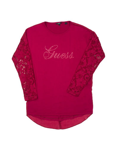 Guess Lace Panel Top-PINK-8
