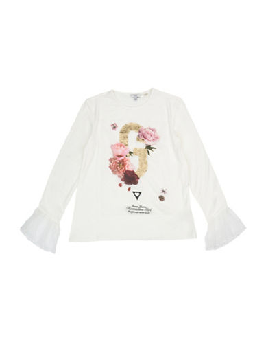 Guess Girls Graphic Bell Sleeve Top-WHITE-8