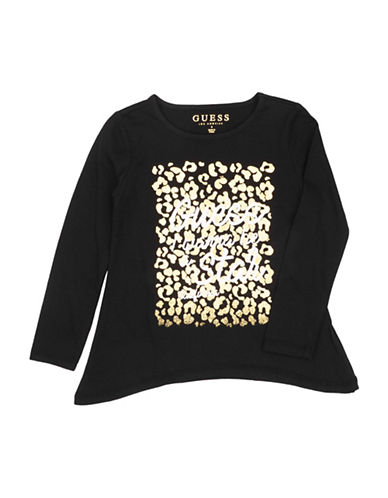 Guess Leopard Jersey Cotton Tee-BLACK-3T