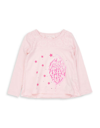 Guess Graphic Lace Cotton Tee-PINK-3T