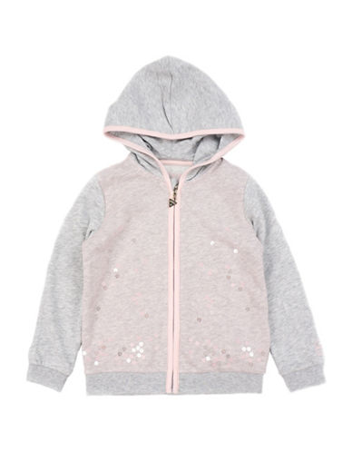 Guess Sequined Hooded Cotton Sweater-GREY-5