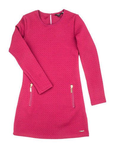 Guess Textured Long-Sleeve Dress-PINK-7