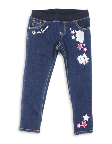 Guess Patch Accent Skinny Jeans-BLUE-6X