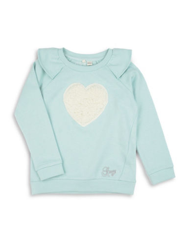 Guess Fleece Heart Cotton Top-BLUE-5