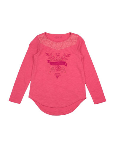 Guess Girls Knit Graphic Floral Cotton Top-PINK-7