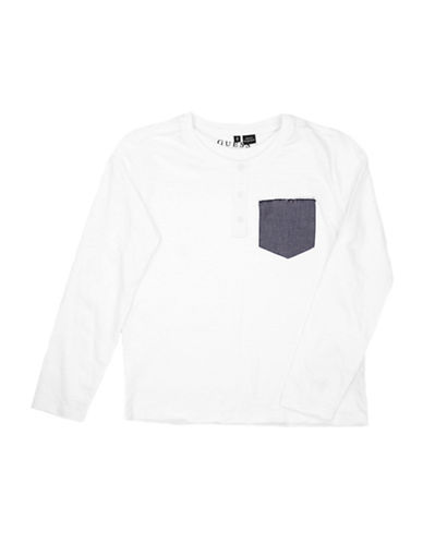 Guess Patch Pocket Cotton Henley-WHITE-10