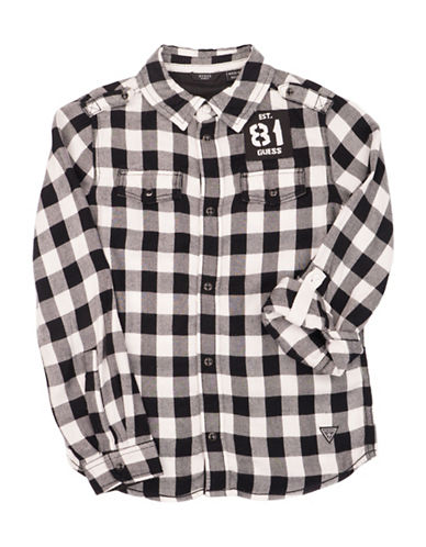 Guess Checkered Sport Shirt-BLACK/WHITE-10