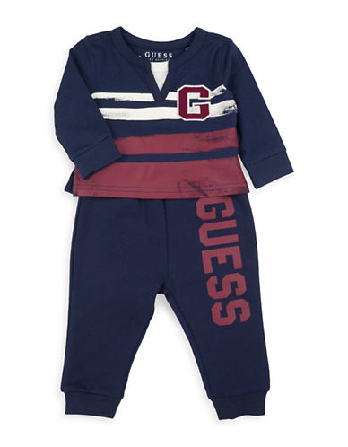 Guess Two-Piece Graphic Cotton Top and Jogger Pants Set-BLUE-24 Months