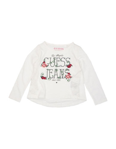 Guess Girls Logo Cotton Tee-RED-2T