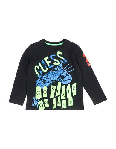 Guess Long Sleeve Cotton Tee-BLACK-3