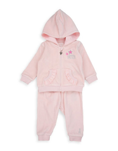 Guess Two-Piece Hooded Jacket and Pants Set-PINK-12 Months