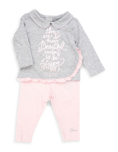 Guess Two-Piece Glitter Text Print Top and Elasticized Leggings Set-GREY-18 Months