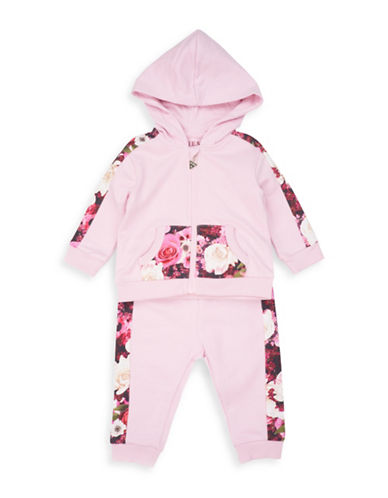 Guess Two-Piece Cotton Floral Sweater and Pants Set-PINK-24 Months