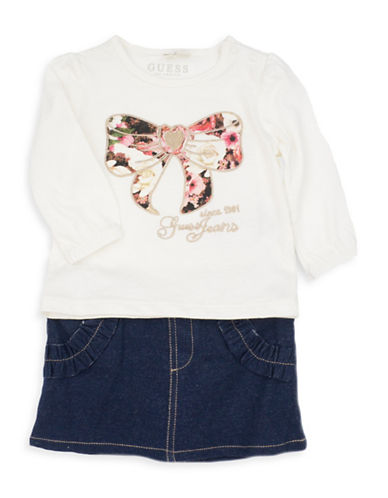 Guess Two-Piece Cotton T-Shirt and Skirt Set-MULTI-18 Months