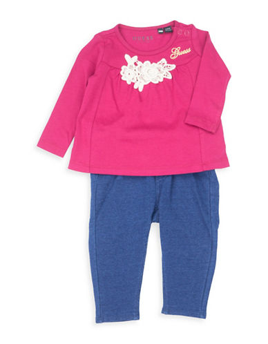 Guess Two-Piece Long-Sleeve T-Shirt and Pants Cotton Set-PINK-18 Months