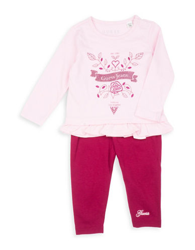 Guess Two-Piece Cotton Graphic T-Shirt and Leggings Set-PINK-18 Months