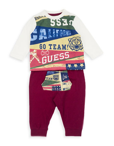 Guess Two-Piece Long-Sleeve T-Shirt and Pants Cotton Set-MULTI-24 Months