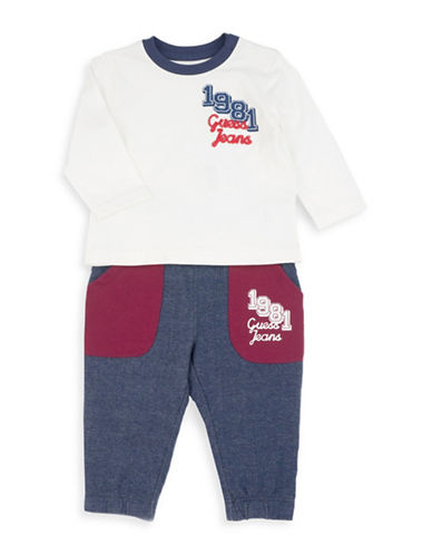 Guess Two-Piece Long-Sleeve T-Shirt and Pants Cotton Set-NATURAL-24 Months