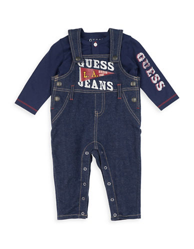 Guess Two-Piece Cotton Top and Denim Overall Set-BLUE-24 Months