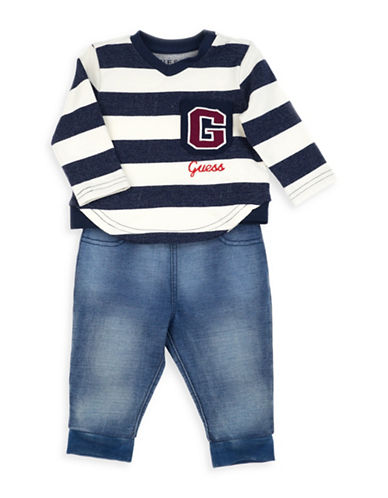 Guess Two-Piece Striped Top & Pants Set-BEIGE-6-9 Months