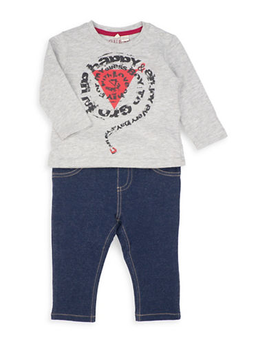 Guess Two-Piece Graphic T-Shirt and Pants Set-GREY-3-6 Months