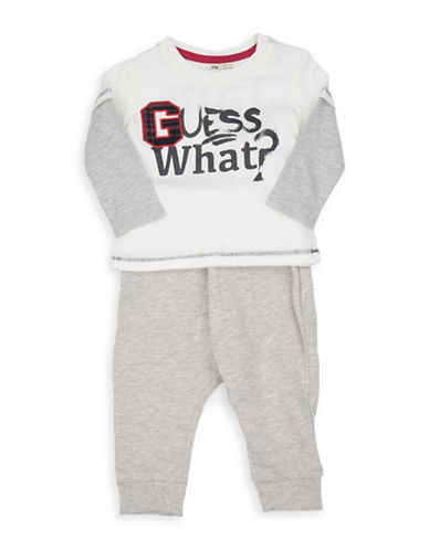 Guess Two-Piece Graphic Cotton Top and Heathered Pants Set-WHITE-3-6 Months