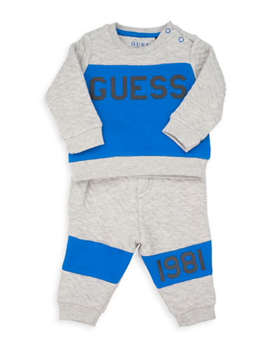 Guess Two-Piece Long-Sleeve T-Shirt and Jogger Set-GREY-18 Months