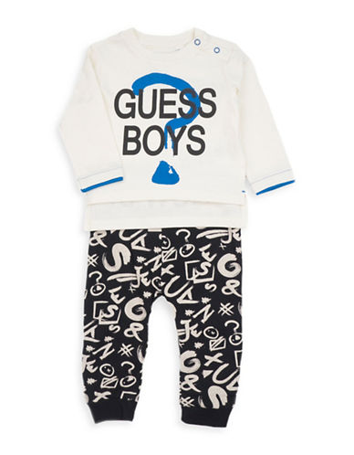 Guess Two-Piece Long-Sleeve T-Shirt and Printed Jogger Set-WHITE-6-9 Months