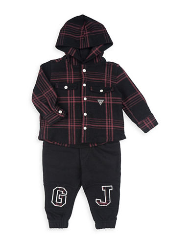 Guess Two-Piece Hooded Plaid Top and Pants Set-BLACK-12 Months