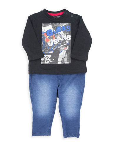 Guess Two-Piece Graphic Print Top and Denim Pants Set-BLACK-24 Months