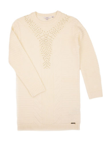 Guess Embellished Wool-Blend Sweater Dress-BEIGE-14