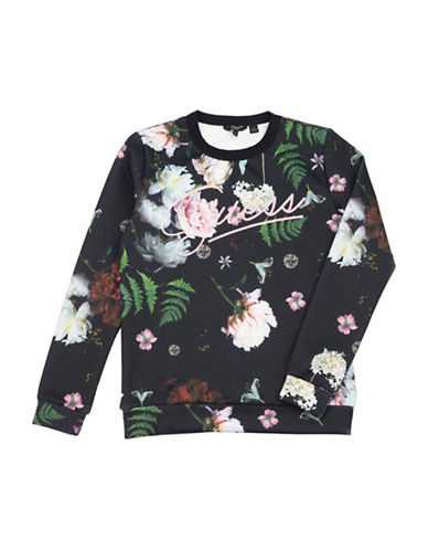 Guess Floral Scuba-Knit Sweatshirt-BLACK-14
