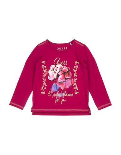 Guess Girls Knit Graphic Tee-PINK-2T