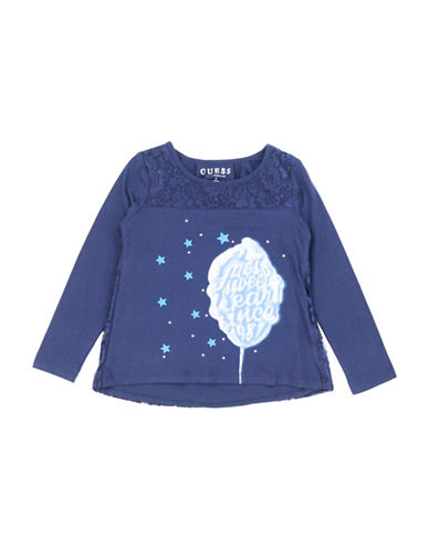 Guess Graphic Lace Cotton Tee-BLUE-2T