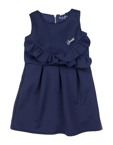 Guess Ruffle Fit-and-Flare Dress-BLUE-2T