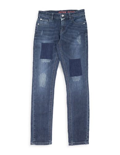 Guess Patched Skinny Jeans-BLUE-10