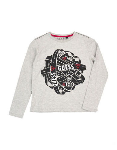 Guess Long Sleeve Logo Cotton Tee-GREY-8
