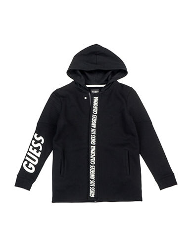 Guess Brushed Fleece Cotton Hoodie-BLACK-10