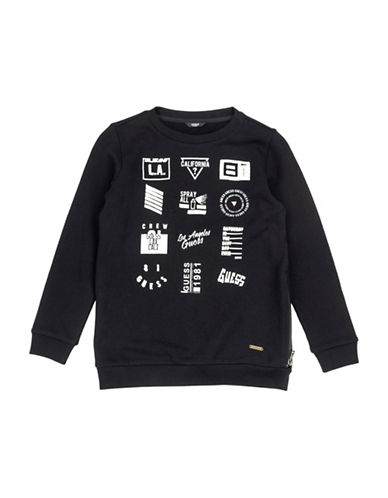Guess Text Graphic Fleece Cotton Sweater-BLACK-14