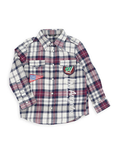 Guess Plaid Button-Down Shirt-RED-2