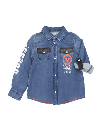 Guess Denim Washed Cotton Collared Shirt-BLUE-5