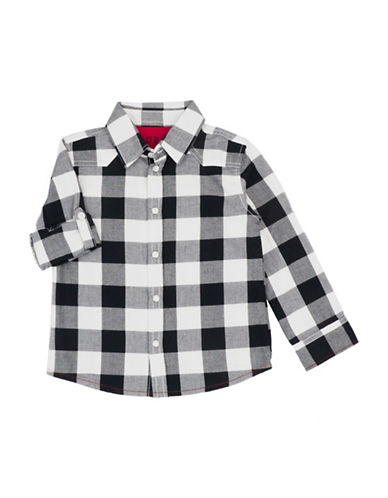 Guess Check Cotton Collared Shirt-BLACK-5