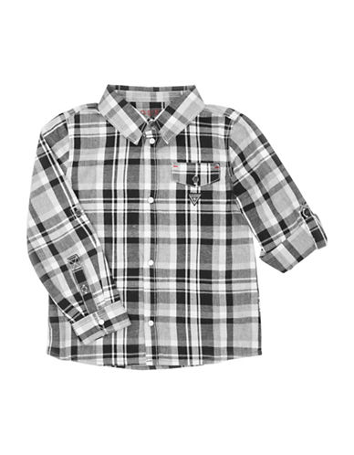 Guess Plaid Cotton Sport Shirt-BLACK-4