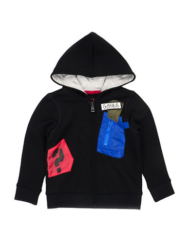 Guess Zip Fleece Hoodie-BLACK-4