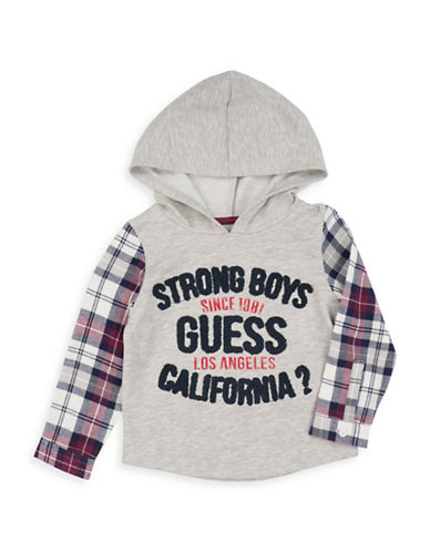 Guess Colourblock Hooded Cotton T-Shirt-GREY-7