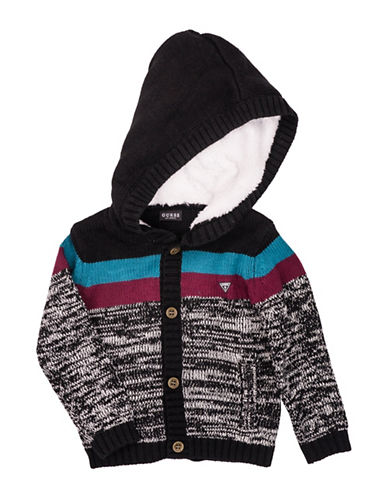 Guess Knit Sweater with Faux Fur-Lined Hood-GREY-6