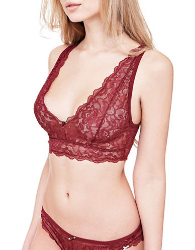 Guess Sheer Lace Bralette-BURGUNDY-Large