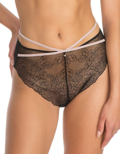 Guess Embroidered Sheer Mesh Brief-BLACK-X-Small
