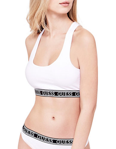 Guess Logo Band Sports Bra-WHITE-X-Small